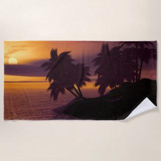 Serviette De Plage Palmiers sur l'île à la photographie de coucher du