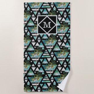 Serviette De Plage Paumes géométriques abstraites et motif de vagues