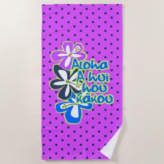 Serviette De Plage Point de polka pourpre de ketmie de Hawaïen de