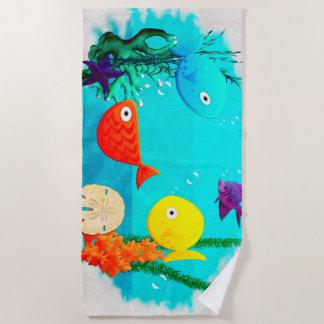 Serviette De Plage Poissons de bande dessinée d'aquarium de Whimsey