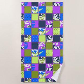 Serviette De Plage Pourpre hawaïen floral de Pokii et de point de
