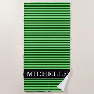 Serviette De Plage Rayures/lignes vert-foncé et vert clair motif