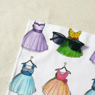Serviette De Plage Rétro mode vintage de jolies robes habillées de