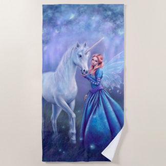 Serviette De Plage Rhiannon - fée de papillon d'amd de licorne