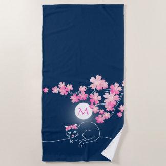 Serviette De Plage Rose bleu Sakura de nuit de jolies fleurs de