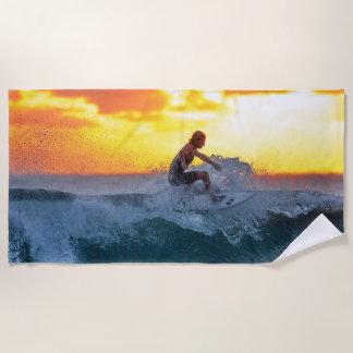 Serviette De Plage surfer au coucher du soleil