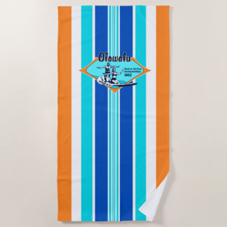 Serviette De Plage Tandem surfant le surf vintage hawaïen - orange