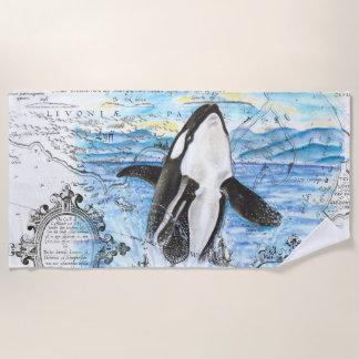 Serviette De Plage Violation de la carte antique de baleine d'orque