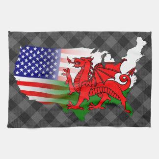 Serviette de thé de carte de drapeaux américains serviette pour les mains