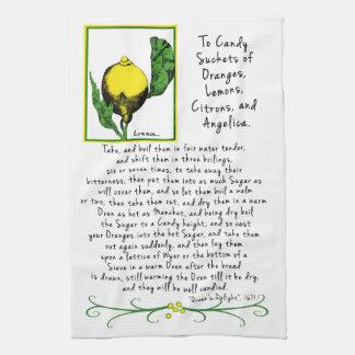 Serviette de thé décorative d'art de citron avec serviettes éponge