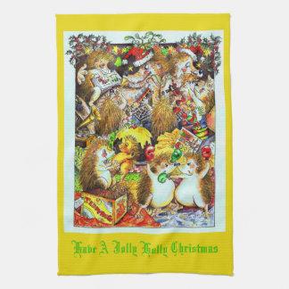 Serviette de thé gaie de hérissons de Noël de houx