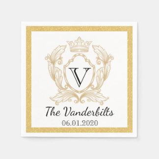 Serviette élégante de mariage de monogramme d'or serviette en papier