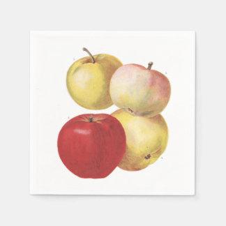 Serviette En Papier 4 pommes vintages ont illustré la serviette