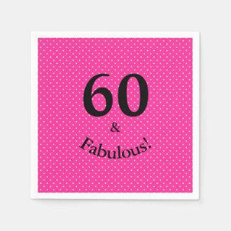 Serviette En Papier 60 et pois rose lumineux d'anniversaire fabuleux