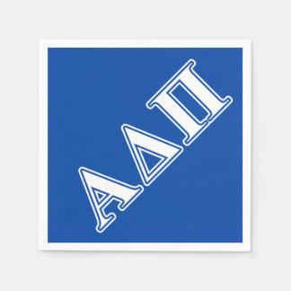 Serviette En Papier Alpha delta lettres bleu-clair et blanches de pi