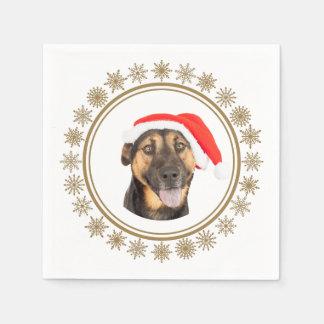 Serviette En Papier Amoureux de les chiens de casquette de Père Noël