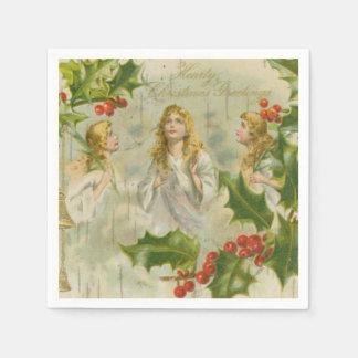 Serviette En Papier Anges vintages de Noël avec la guirlande