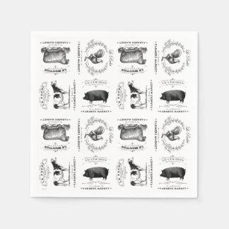Serviette En Papier animaux de ferme français vintages modernes