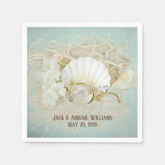 Serviette En Papier anneaux et coquillages d'anniversaire-mariage en