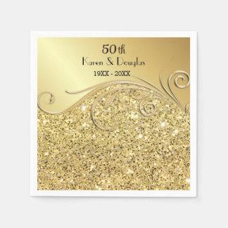 Serviette En Papier Anniversaire de mariage d'or cinquantième