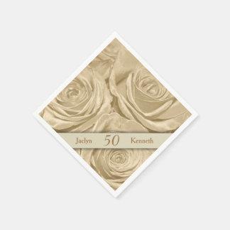 Serviette En Papier Anniversaire de mariage d'or de roses de Champagne
