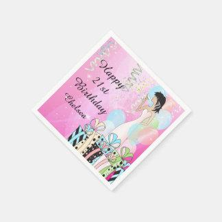 Serviette En Papier Anniversaire ou princesse Girl de diva de partie