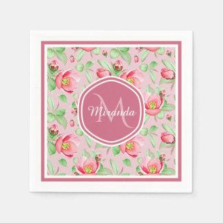 Serviette En Papier Apple rose doux fleurissent floral avec le