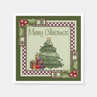 Serviette En Papier Arbre de Noël mignon et Noël de cadeaux Joyeux