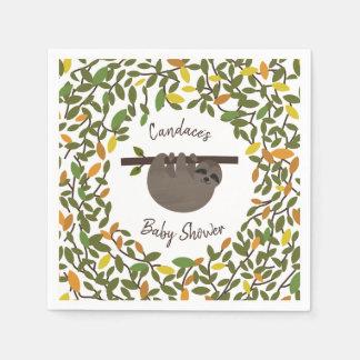 Serviette En Papier Baby shower de verdure d'automne de paresse de