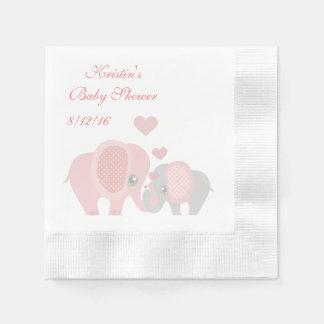 Serviette En Papier Baby shower, éléphants roses mignons
