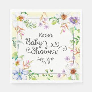 Serviette En Papier Baby shower floral d'aquarelle