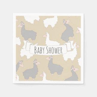 Serviette En Papier Baby shower gris et blanc pelucheux de lamas