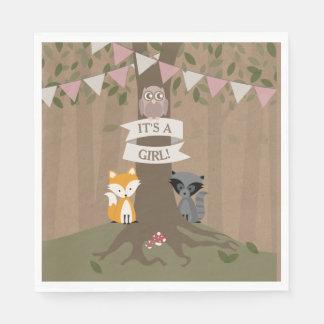 Serviette En Papier Baby shower inspiré de carte de région boisée -