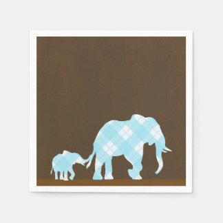 Serviette En Papier Baby shower moderne à la mode de Brown d'éléphants