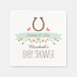 Serviette En Papier Baby shower occidental en fer à cheval vert en bon