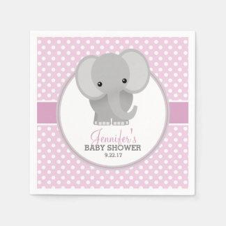 Serviette En Papier Baby shower (rose) d'éléphant de bébé