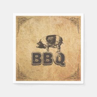 Serviette En Papier BBQ de rôti de porc encadré par cru