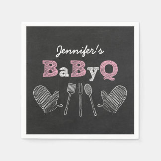 Serviette En Papier BBQ rose de baby shower