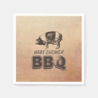 Serviette En Papier BBQ vintage de baby shower de rôti de porc
