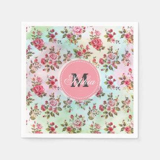 Serviette En Papier Beaux roses vintages girly à la mode de monogramme