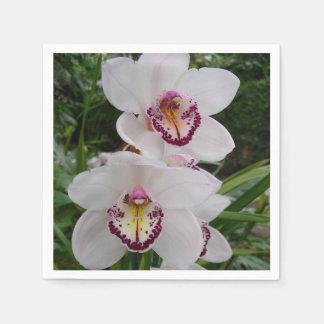 Serviette En Papier Belles fleurs tropicales d'orchidées blanches