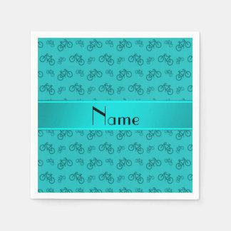 Serviette En Papier Bicyclettes nommées personnalisées de turquoise