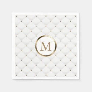 Serviette En Papier Blanc de luxe de monogramme d'initiale moderne