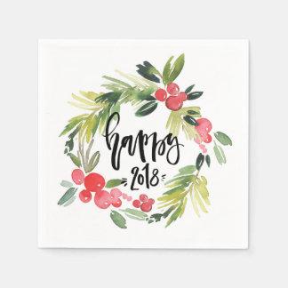 Serviette En Papier Bonne année 2018 de guirlande de houx d'aquarelle