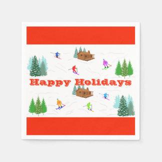 Serviette En Papier Bonnes fêtes serviettes rouges de cabine de ski de