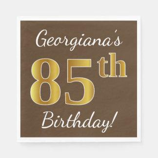 Serviette En Papier Brown, anniversaire d'or de Faux 85th + Nom fait