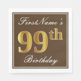 Serviette En Papier Brown élégant, anniversaire d'or de Faux