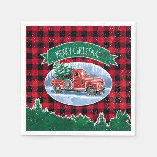 Serviette En Papier Camion de cru de Joyeux Noël