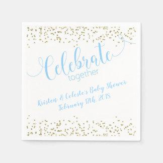 Serviette En Papier Célébration commune d'amis de bleu et d'or de bébé
