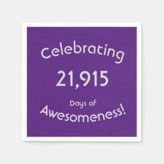 Serviette En Papier Célébration de 21.915 jours d'anniversaire